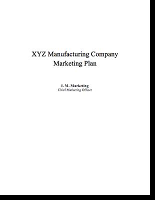 Marketing Plan Example Manufacturing